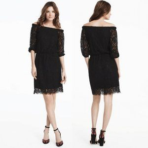 WHBM Black Lace Off The Shoulder Dress